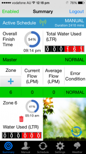 WaterMe Iphone Summary Screen